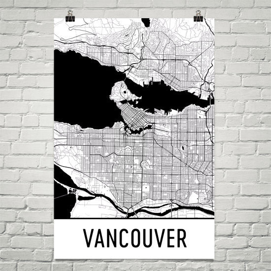 Vancouver bc street map poster wall print by modern map art vancouver bc street map poster white gumiabroncs Gallery