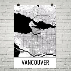 Vancouver BC Street Map Poster White