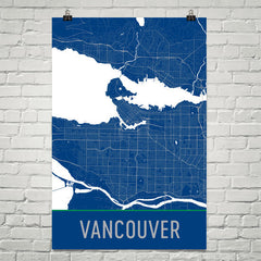 Vancouver BC Street Map Poster Black