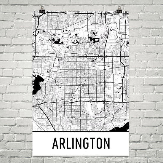Arlington TX Street Map Poster White