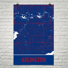Arlington TX Street Map Poster Black