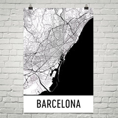 Barcelona Spain Street Map Poster White