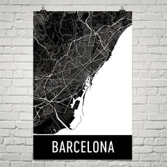 Barcelona Spain Street Map Poster Red
