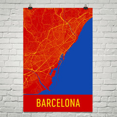 Barcelona Spain Street Map Poster Black