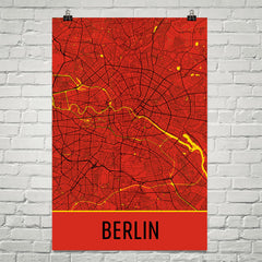 Berlin Germany Street Map Poster Red