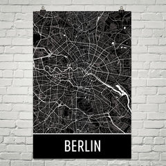 Berlin Germany Street Map Poster Black and Red