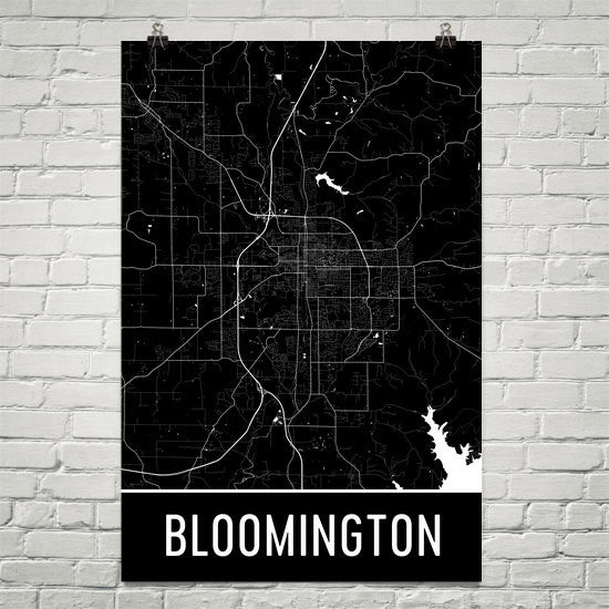 Bloomington IN Street Map Poster Black