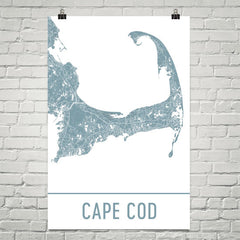 Cape Cod MA Street Map Poster Black