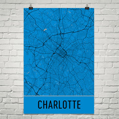Charlotte NC Street Map Poster Black