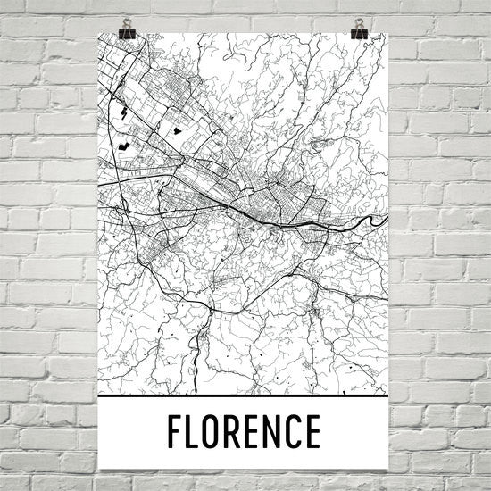 Florence Italy Street Map Poster White