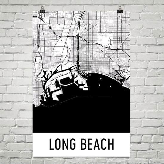 Long Beach CA Street Map Poster Black
