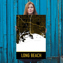 Long Beach CA Street Map Poster Black and Gold