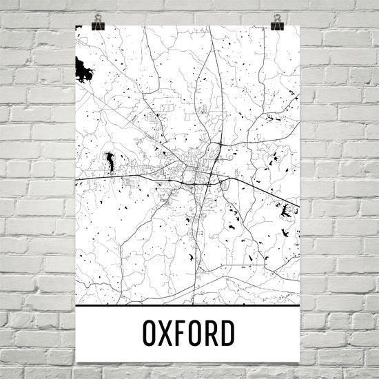 Oxford MS Street Map Poster Black