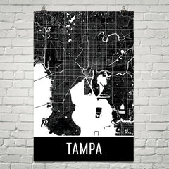 Tampa FL Street Map Poster Blue and White