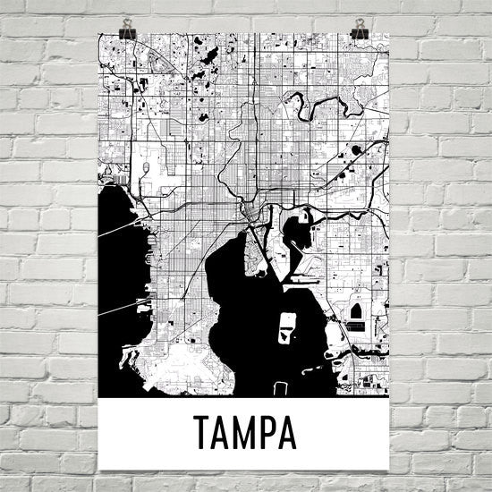 Tampa FL Street Map Poster Black