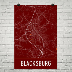 Blacksburg VA Street Map Poster White