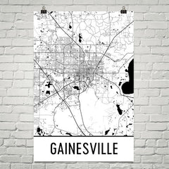 Gainesville FL Street Map Poster Black