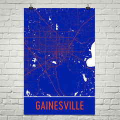 Gainesville FL Street Map Poster White