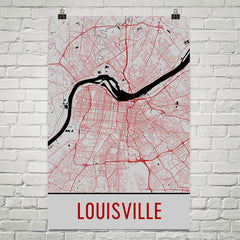 Louisville KY Street Map Poster Red