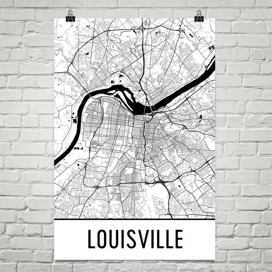 Louisville KY Street Map Poster Black