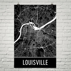 Louisville KY Street Map Poster White