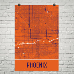 Phoenix AZ Street Map Poster Red and White