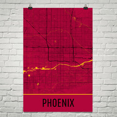 Phoenix AZ Street Map Poster Red and Black