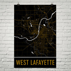 West Lafayette IN Street Map Poster White