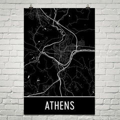 Athens Ohio Street Map Poster Green