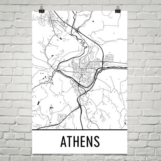 Athens Ohio Street Map Poster Black