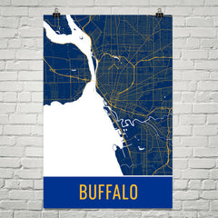 Buffalo NY Street Map Poster White
