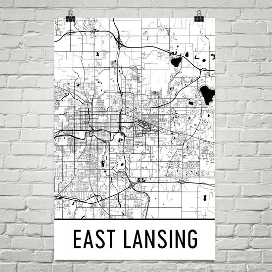 East Lansing MI Street Map Poster Black