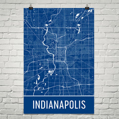 Indianapolis IN Street Map Poster White