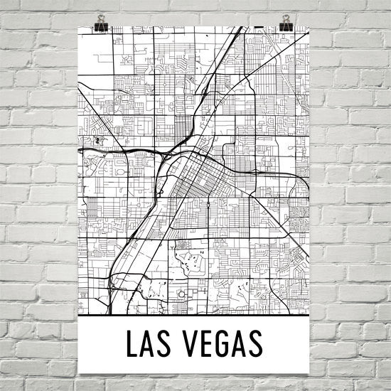 Las Vegas NV Street Map Poster White