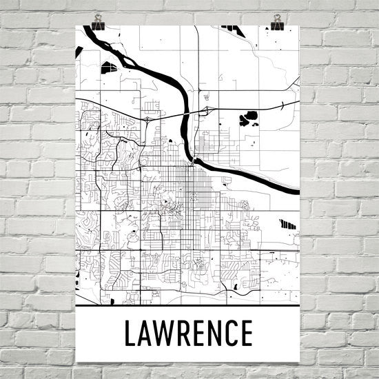 Lawrence KS Street Map Poster Black