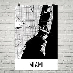 Miami FL Street Map Poster Black