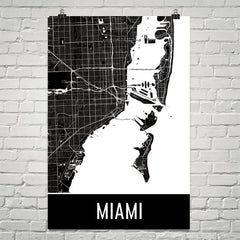 Miami FL Street Map Poster Teal