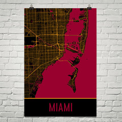 Miami FL Street Map Poster Black and Red