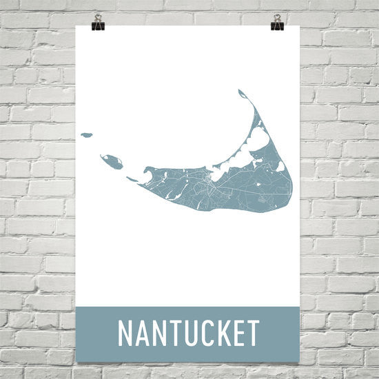 Nantucket MA Street Map Poster Black