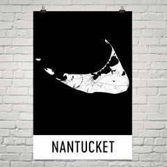 Nantucket MA Street Map Poster White