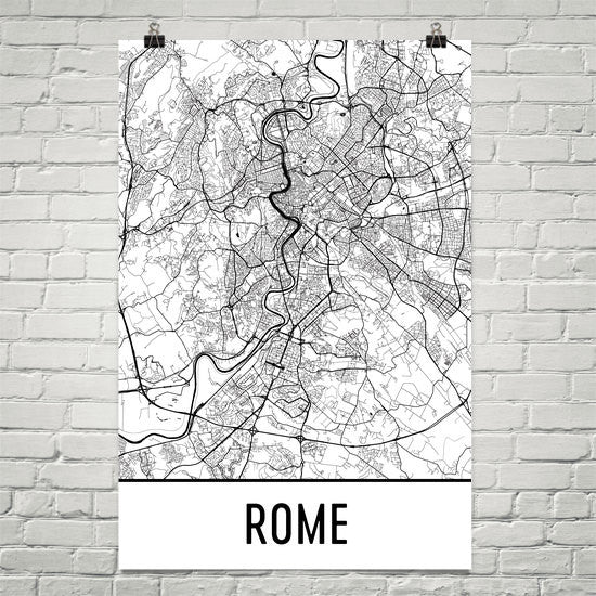 Rome Italy Street Map Poster Black