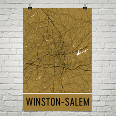 Winston Salem NC Street Map Poster White