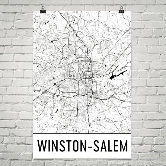 Winston Salem NC Street Map Poster Black