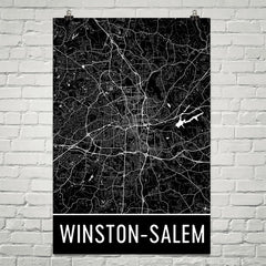Winston Salem NC Street Map Poster Gold