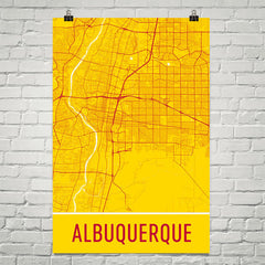 Albuquerque NM Street Map Poster Yellow