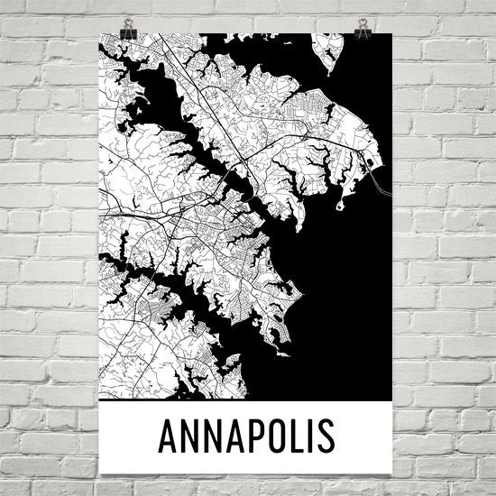 Annapolis MD Street Map Poster White