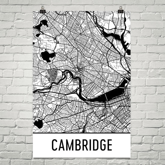 Cambridge MA Street Map Poster White