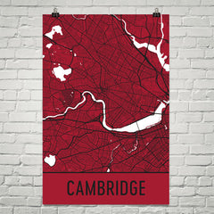 Cambridge MA Street Map Poster Red