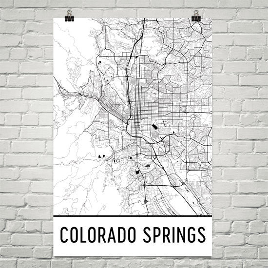 Colorado Springs Street Map Poster White