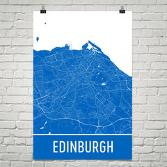 Edinburgh Scotland Street Map Poster Blue